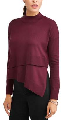 N. Heart Crush Women's Layered Front Mock Neck Sweater