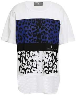 adidas by Stella McCartney Mesh-paneled Leopard-print Cotton-jersey T-shirt