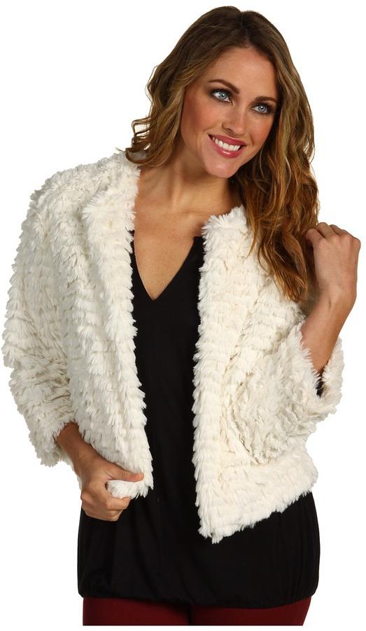 Kensie Cropped Faux Fur Jacket (Paper White) - Apparel