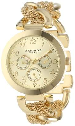 Akribos XXIV Women's Fashionable Gold-Tone Watch with Multifunction Subdials and Mesh Link Bracelet AK564YG