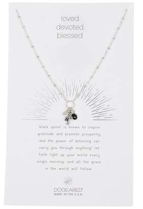Dogeared Sterling Silver Loved. Devoted. Blessed Cross, Crystal, & Black Spinel Cluster Charm Necklace