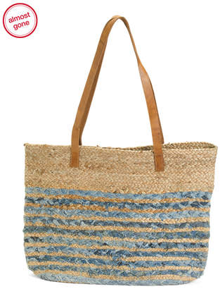 Woven Bag With Leather Handles