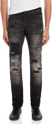 PRPS Goods & Co. Black Distressed Slim Tapered Jeans