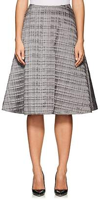 Thom Browne WOMEN'S PLAID-PLEATED SILK A-LINE SKIRT