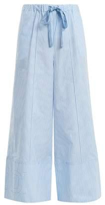 Fendi Wide Leg Striped Cotton Poplin Trousers - Womens - Light Blue