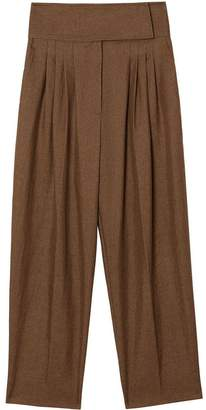 Burberry Pleat Detail Technical Linen Tailored Trousers