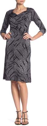 New York Collective Printed 3/4 Sleeve Criss-Cross Ruched Dress