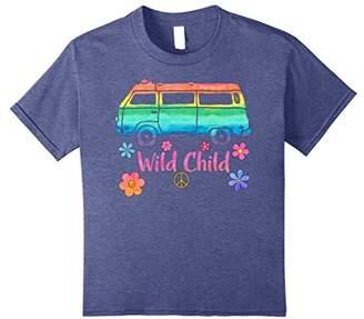 Vintage Hippie Bus Rainbow Van Squad Car Wild Child T Shirt