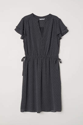 H&M V-neck Dress - Black/white patterned - Women