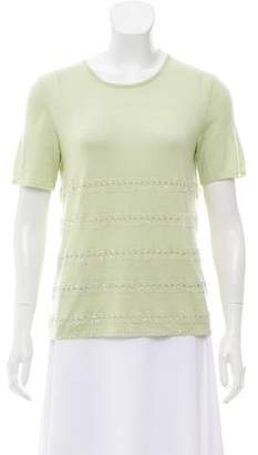 Oscar de la Renta Embellished Wool Top