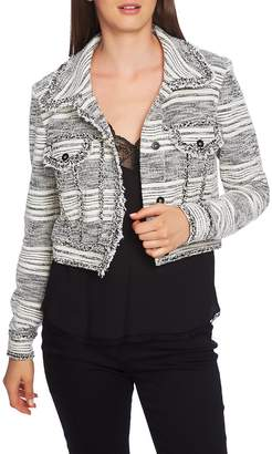 1 STATE 1.STATE Fringe Trim Tweed Crop Jacket