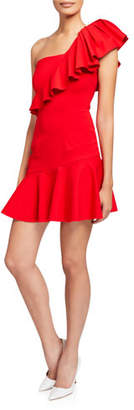 Elliatt Pompeii One-Shoulder Short Ruffle Dress