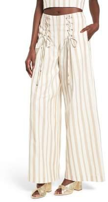 J.o.a. Lace-Up High Waist Wide Leg Pants