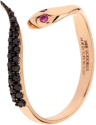 Black Diamond Bee Goddess Serpent Ring