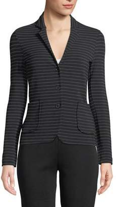 Neiman Marcus Majestic Paris for Soft Touch Striped Single-Breasted Blazer