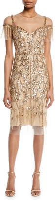 Pamella Roland Round-Neck Beaded-Embellished Illusion Sheath Cocktail Dress