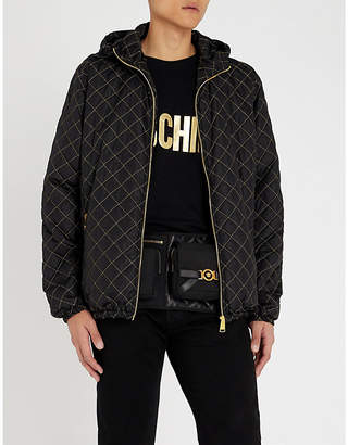 Moschino Metallic logo-appliqué quilted shell jacket
