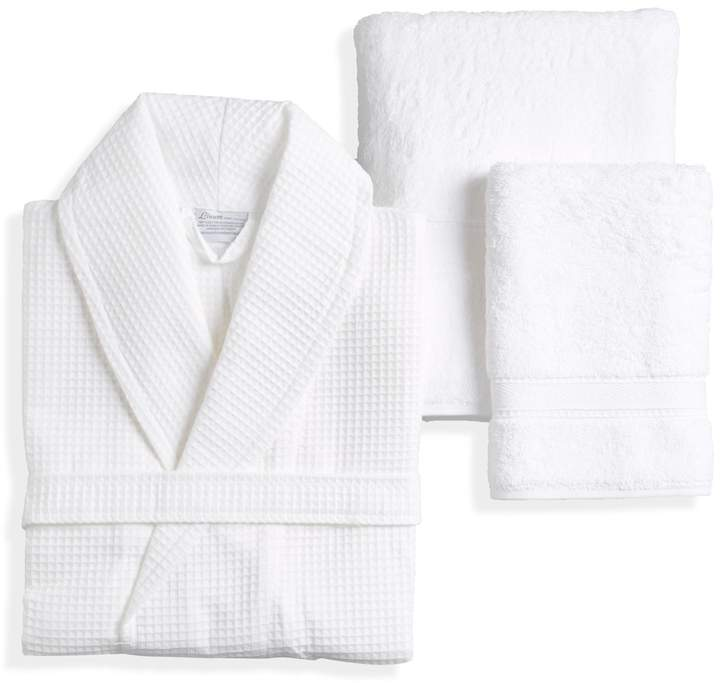 Linum Home Textiles White Terry Towel Set with Waffle Bathrobe (5 PC)