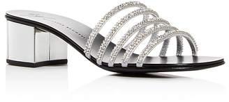 Giuseppe Zanotti Women's Embellished Leather Block-Heel Slide Sandals
