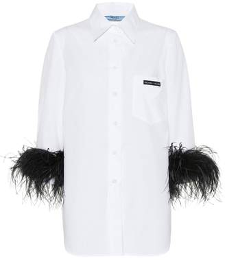 Prada Feather-trimmed cotton shirt