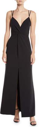 Parker Black Aiden Stretch Crepe Center-Slit Dress