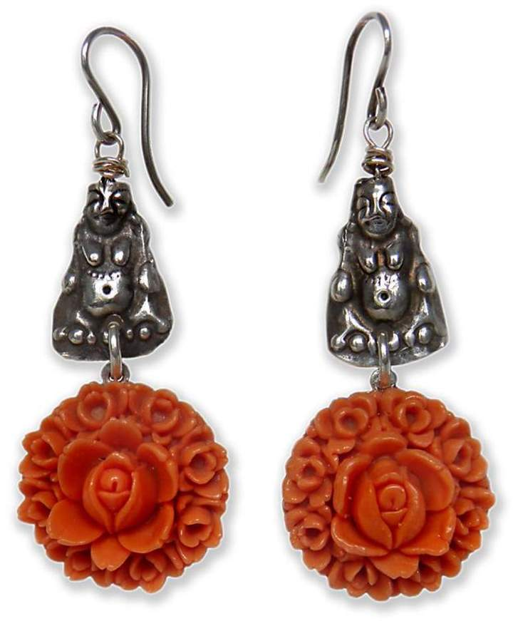 on u Silver Buddha Earrings