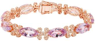 14k Rose Gold Over Silver Amethyst & White Topaz Marquise Bracelet