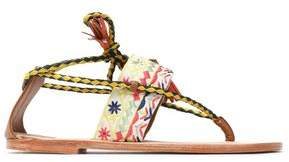Antik Batik Tasseled Braided Leather And Embroidered Canvas Sandals