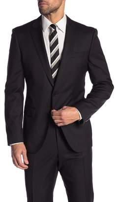 BOSS Hayes Black Solid Two Button Notch Lapel Wool Suit Separates Jacket