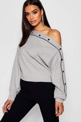 boohoo Diagonal Popper Sweatshirt