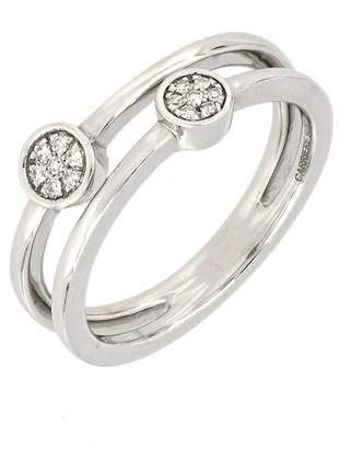 Carriere Sterling Silver Diamond Double Round Stack Ring - 0.06 ctw