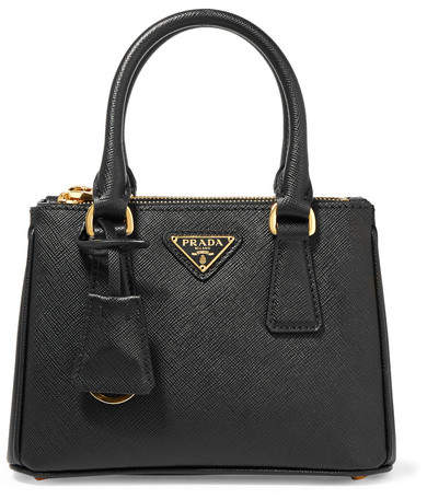 prada Prada - Galleria Baby Textured-leather Tote - Black
