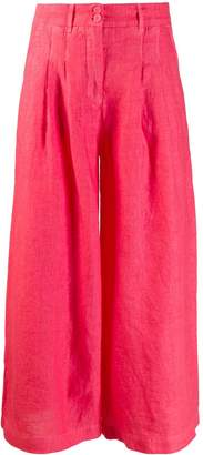 120% Lino wide leg cropped trousers