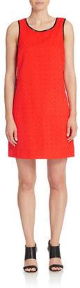Kensie Faux Leather Trim Eyelet Dress $99 thestylecure.com