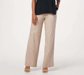 Halston H By H by Regular Linen Blend Pull-On Full-Length Wide-Leg Pants