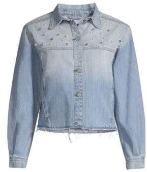 Rails Rylan Embellished Cropped Denim Jacket