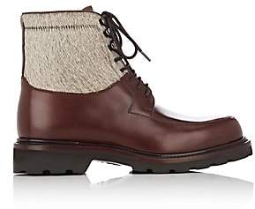 Cartujano Espana Women's Leather & Fur Combat Boots-Brown