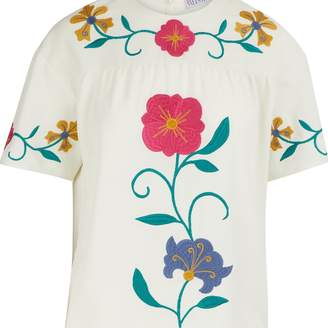 RED Valentino Mexican Flower embroidered top