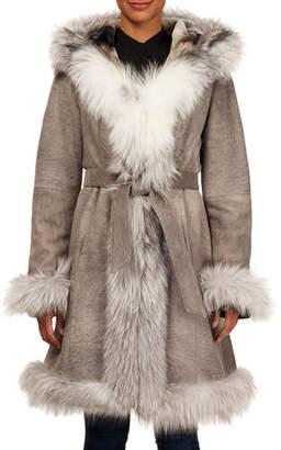 Gorski Fox-Fur Trim Lamb-Shearling Wrap Coat