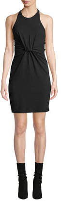 Alexander Wang High-Neck Twist-Front Jersey Halter Dress