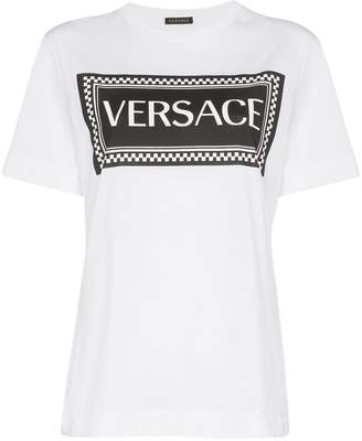 Versace logo and check print cotton t-shirt