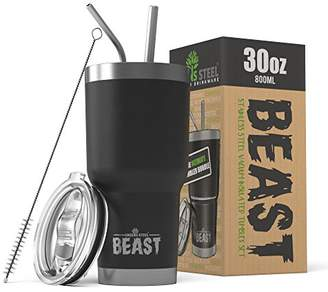 BEAST 30 oz Black Tumbler - Stainless Steel Vacuum Insulated Rambler Coffee Cup Double Wall Travel Flask (30 oz