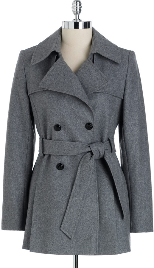 Via Spiga Double-Breasted Pleated Trench Coat