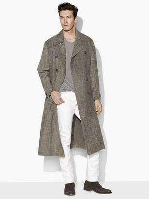 John Varvatos Linen Military Trench Coat