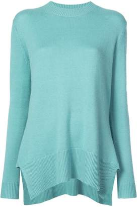 Derek Lam Long Sleeve Crewneck Sweater with Godet Inserts
