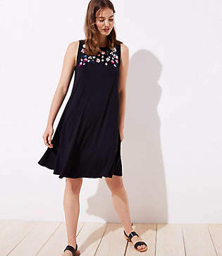 LOFT Petite Floral Embroidered Flounce Swing Dress