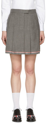 Thom Browne Grey Pleated Miniskirt $1,050 thestylecure.com