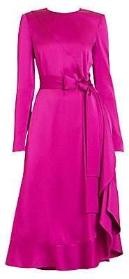 Givenchy Women's Crepe Envers Satin Ruffle Midi Dress