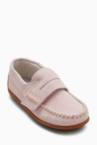 Boys Pink Suede Penny Loafers (Younger Boys) - Pink