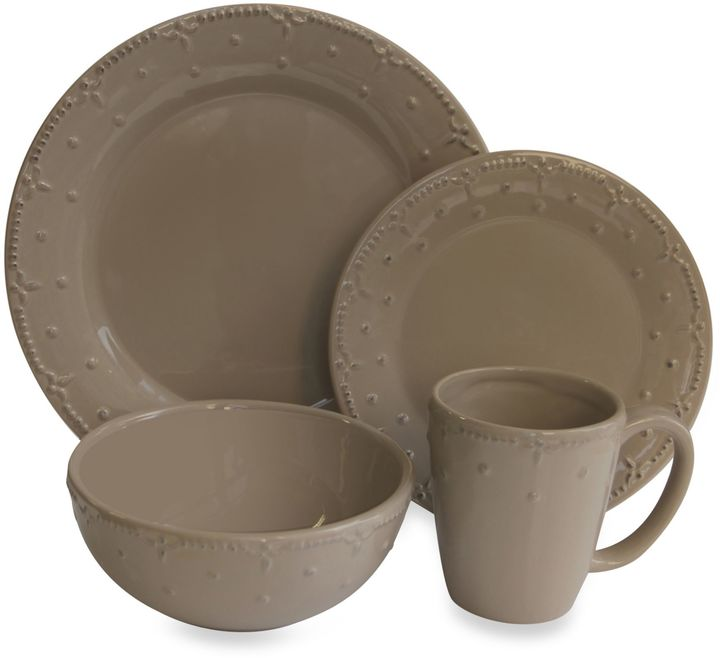 Bed Bath & Beyond American Atelier Genevieve 16-Piece Dinnerware Set in Taupe